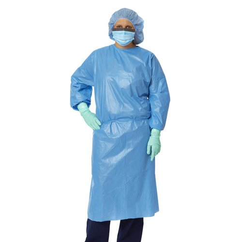 Closed Back Polyethylene-Coated Polypropylene Isolation Gowns - 50 per box